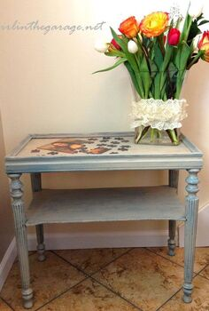 chic little table redo, flowers, painted furniture, After painting the table teal and distressing I painted it pale gray and distressed some more I love how it turned out