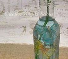 butterfly vase, crafts, repurposing upcycling, A finished decoupaged vase made out of a re cycled vinegar bottle and some paper serviettes