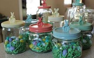 easter bunny jars, crafts, easter decorations, seasonal holiday decor