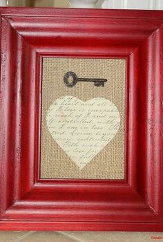 the key to my heart simple valentine s day project, crafts, seasonal holiday decor, valentines day ideas, Simply spray the cardboard that came with the frame with spray adhesive and put the burlap on top of it Cut a heart from the document paper glue on top of the burlap and glue the key above the heart