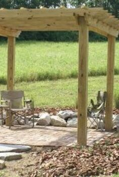 how our farm s little pergola was built, outdoor living, woodworking projects, Installed at the farm and with the reclaimed brick floor before landscaping