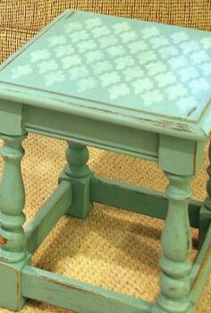 q have you ever stenciled furniture my little table makeover is so darn cute thanks, painted furniture, Finished