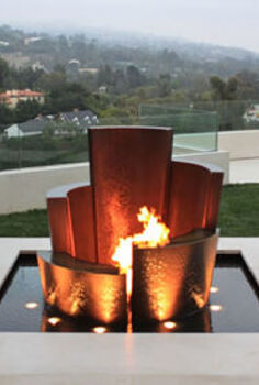 unique water fountains, outdoor living, ponds water features, Unique Water Fountain Fire and Water
