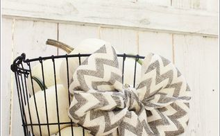 oyster basket white pumpkins and a chevron burlap bow, seasonal holiday decor, Chevron burlap bow