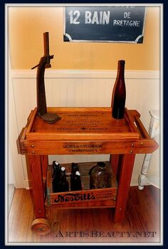 took a store display and turned it into a vintage wine champagne cart, home decor, storage ideas