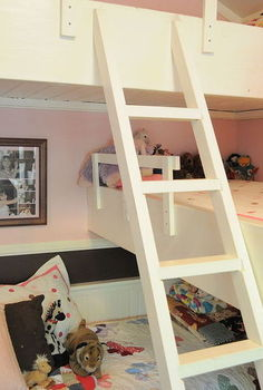 girls room triple bunk bed, bedroom ideas, diy, home decor, painted furniture