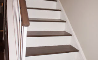 i ditched the carpeted stairs, diy, home maintenance repairs, painting, stairs, woodworking projects, Final stairs with a few trials in between