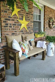 diy palett furniture summer porch, diy, outdoor furniture, outdoor living, painted furniture, pallet, porches, repurposing upcycling, DIY pallet bench with burlap cushions and DIY pillows