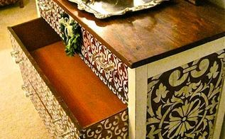 how to stencil wood furniture with chalk paint decorative paint, painted furniture, The finished dresser is raised to a new level with addition of beautiful stenciled patterns