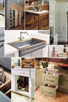 thinking about remodeling your kitchen check out these custom ideas, home improvement, kitchen design, Cutting board to fit over compost bin Pull out storage Pull out cutting board Hidden pocket door in cabinetry Brass stainless sink with front towel rack Pantry pull out shelves in closet Pull out dog dishes in cabinetry