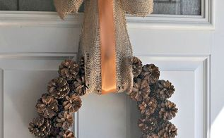 fall pinecone wreath, crafts, seasonal holiday decor, wreaths, The wreath is a little on the heavy side so you will want to make sure you have it securely hanging on your door I am very happy with how it turned out