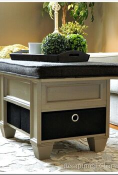 coffee table with storage, cleaning tips, painted furniture, Extra storage in the form of canvas boxes at the bottom
