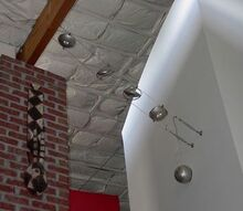 replaced existing wall mounted fixture with suspended low wattage spot fights, View from below