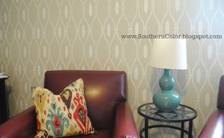 office makeover stencil wall custom bookshelves, craft rooms, home decor, home office, shelving ideas, Office Makeover at Southern Color
