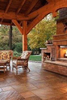 outdoor fireplace idea, decks, fireplaces mantels, outdoor living, Outdoor living room example