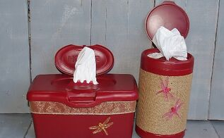hiney and boogie wipes plastic container upcycle recycle, repurposing upcycling, It only took about 4 hours including dry time but not curing days to make these functional yet pretty bathroom accessories