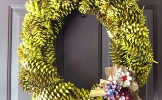 fall pine cone wreath, crafts, seasonal holiday decor, wreaths