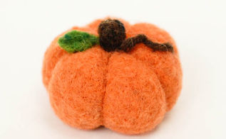 needle felted pumpkin, crafts, seasonal holiday decor
