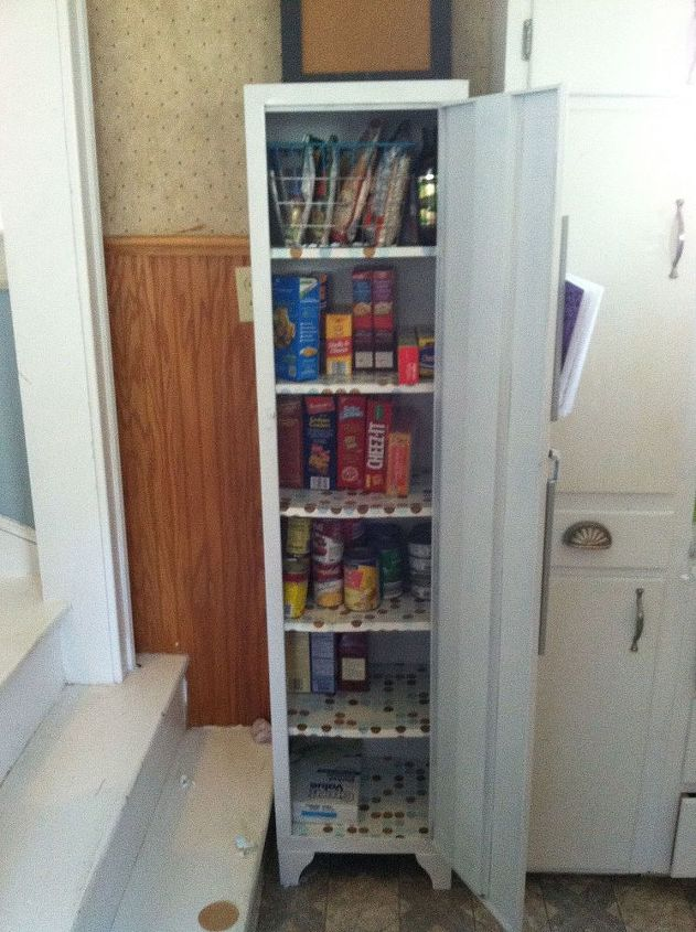 old metal cabinet turned into pantry, painted furniture, Metal Pantry - Old Metal Cabinet Turned Into Pantry Hometalk