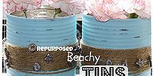 repurposed beachy tins, repurposing upcycling