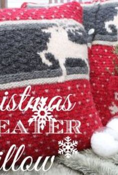 4 goodwill christmas sweater turned into pillows, christmas decorations, repurposing upcycling, seasonal holiday decor, These pillows speak of Christmas with the deer and snowflakes Warm and cozy and perfect for a traditional Christmas style