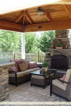 outdoor patio cabana fireplace, fireplaces mantels, landscape, outdoor living, patio