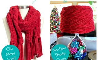 easy no sew diy lampshade cover using a scarf, crafts, lighting, seasonal holiday decor, I turned this chunky cable knit scarf into a lampshade cover with no supplies needed and no damage done to the shade or the scarf