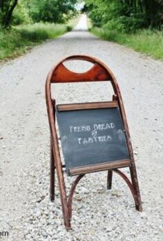 wooden folding chair into sidewalk chalkboard, outdoor living, repurposing upcycling