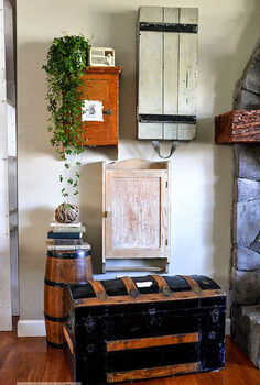 140 ways to organize your bad junk inside good junk, home decor, living room ideas, organizing, repurposing upcycling, storage ideas, Little cabinets grouped together become a wal