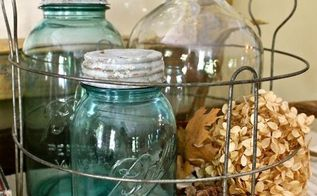 blue fall, crafts, mason jars, vinegar jugs and blue Mason jars in a vintage canning basket