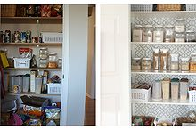 pretty pantry makeover, closet, Before unorganized and plain looking pantry After a pretty organized space
