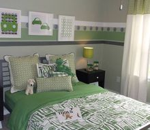recent job for terri kemp interiors, bedroom ideas, home decor, painting, Painted border for a young boys room The Land of Nod bedding with tools is really cute I tried to incorporate some of that feel into the border with the little screws