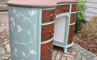 painted mahogany kidney shaped desk, painted furniture, I thought it was nice to put a lighter color on the inside panels that was you can really see the detail of the trim