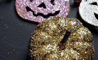 halloween glitter pumpkins, crafts, halloween decorations, seasonal holiday decor, All over glitter