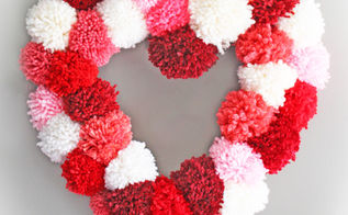 how to make a heart wreath form, crafts, seasonal holiday decor, valentines day ideas, wreaths, Tie pom poms to the wreath form to create this fun Valentines Day wreath