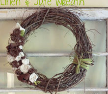 linen and jute wreath, crafts, wreaths