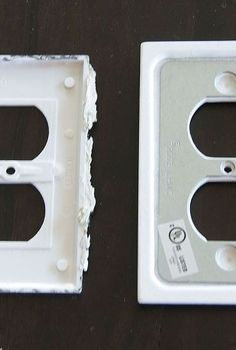 reduce your electric bill and warm your home for less than 2, electrical, go green, If you want the most insulation consider buying new plates The plate on the left is the builder plate The plate on the right are the new ones I m using They are wider and have a metal layer that offers extra insulation