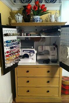 armoire turned sewing cabinet, painted furniture, repurposing upcycling, storage ideas, after storage