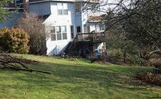 before and after portland oregon patio for wildlife watching, decks, landscape, outdoor living, patio, Peter and Stacy s yard in the Mount Scott area of Portland before any landscaping work is done