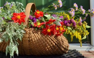 fall foliage in the foyer, gardening, seasonal holiday d cor, Vivid colored fall blooms fill a basket
