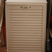 tilt out trash cabinet from salvaged shutter, doors, kitchen cabinets, woodworking projects, Trash Cabinet Shutter Front