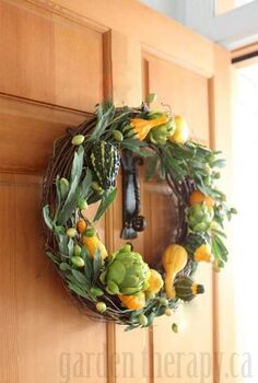 fall harvest wreath with fresh ornamental gourds, crafts, doors, seasonal holiday decor, thanksgiving decorations, wreaths