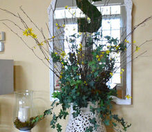 how to turn a garden stool into a large vase, home decor, repurposing upcycling, A garden stool turned upside down to create a vase