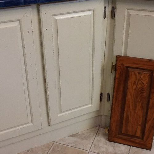 Painting particle board cabinets