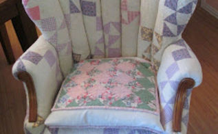 patchwork quilt chair, painted furniture, reupholster, Give new life to a wing chair with well loved quilts
