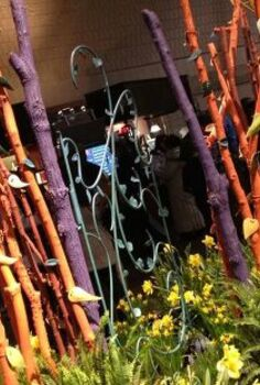 garden inspiration from the flower show, flowers, gardening, outdoor living, succulents, Colorful tree limbs create a natural fence