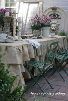 ruffled burlap tablecloth, crafts, patio