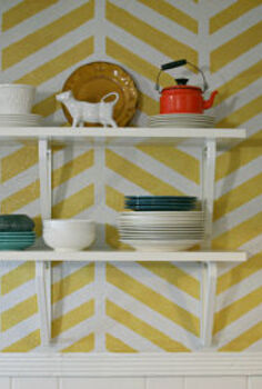 a 2012 diy recap, crafts, home decor, herringbone accent wall and open shelving apartment makeover