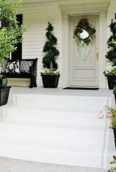 total front step transformation for under 50, curb appeal, Supplies needed for project concrete paint frog tape pencil measuring tape and paint brush