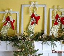 queen b christmas hang your stockings in an old frame, christmas decorations, seasonal holiday decor